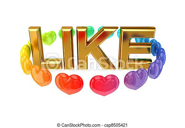 it., dorato, parola, come, colorito, cuori, intorno - csp8505421