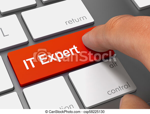 it expert pushing keyboard with finger 3d illustration - csp58225130