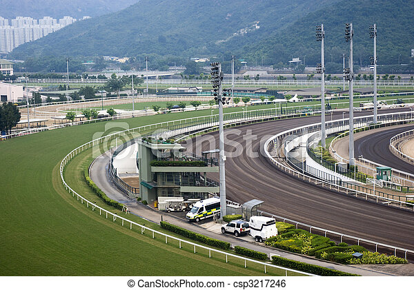 it is a shot of horse race empty track. - csp3217246