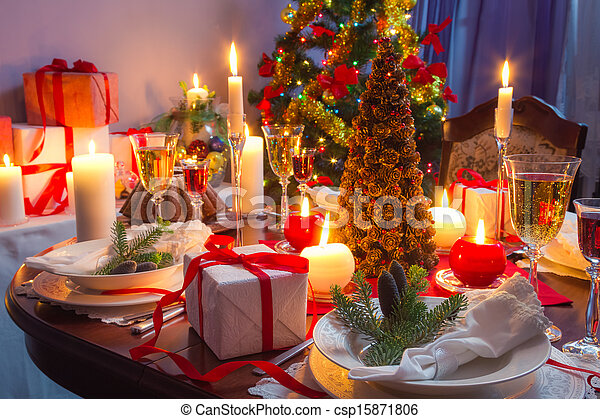 It is time for Christmas dinner - csp15871806