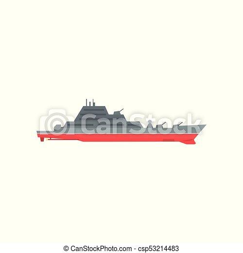 Grande, acorazado, armas de fuego, barco, buque de guerra. Ángulo ...