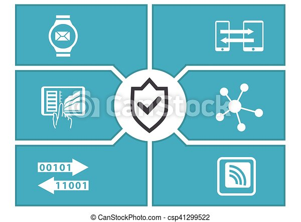 IT security concept for mobile devices. Vector illustration. - csp41299522