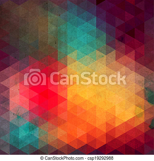 Triángulos de formas geométricas. Colorido fondo mosaico. Trasfondo moderno geométrico retro, coloca tu texto en la parte superior. Trasfondo de triángulo retro. Telón de fondo - csp19292988