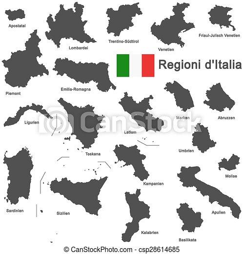 Italia and regions - csp28614685