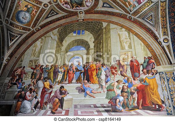 Pintar por el artista Rafael en Vatican, Roma, Italia - csp8164149