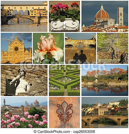 italia, collage-, maravilloso, florentino, imágenes, florencia - csp26053008