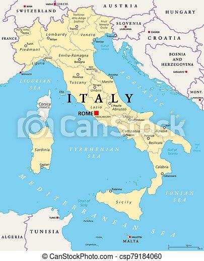 Cartina Italia In Inglese.Italia Mappa Regioni Politico Divisioni Amministrativo Internazionale Inglese Illustration Divisions Prossimo Canstock