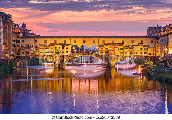 italia, ponte vecchio, florencia, arno, ocaso - csp28043589