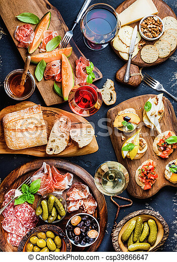 italiaanse , set, wijntje, antipasti, hapjes. kaas, hapjes, op