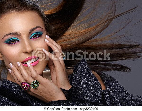 Italian beauty with fashion make-up - csp8230499