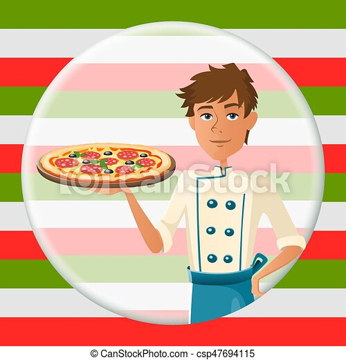 Italian cartoon cooker with pizza with salami - csp47694115