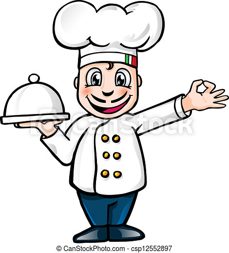 illustration of a cartoon italian chef with tray eps vectors rh canstockphoto com