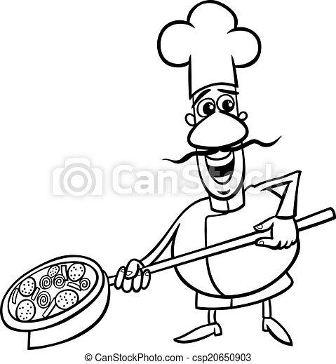 Italian Cook Cartoon Coloring Page