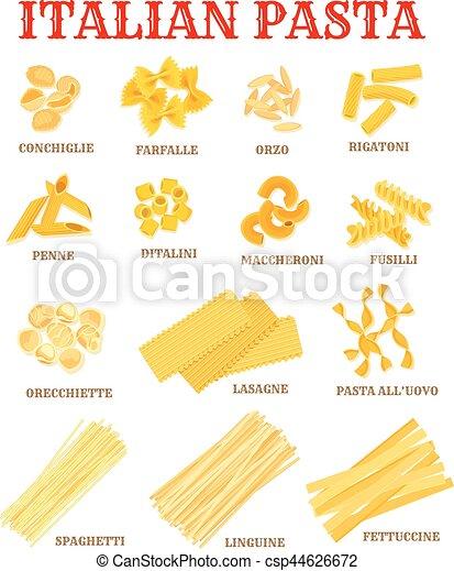 Italian Cuisine Pasta List Poster For Food Design Italian Pasta