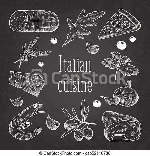 Italian Cuisine Sketch Doodle Chalkboard. Food Menu Design Template. Hand Drawn Traditional Italy Dishes with Pizza, Cheese and Meat. Vector illustration - csp52110730