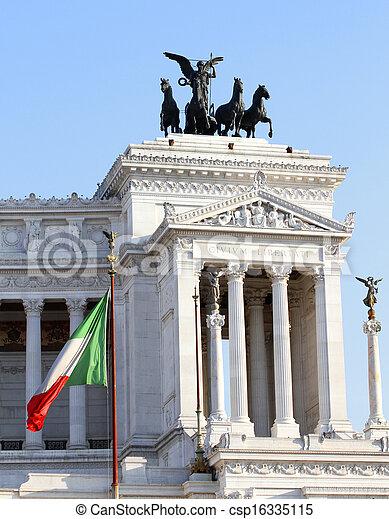 Italian flag and monument Vittoriano in Rome - csp16335115