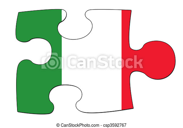 italian flag puzzle a puzzle piece in the shape of the stock rh canstockphoto com