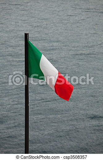 italian flag with a lake in the background - csp3508357