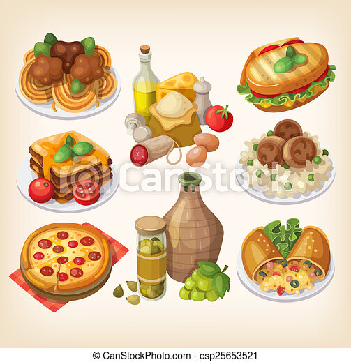 italian food and meals set of italian food products and clip rh canstockphoto com italian cuisine clipart italian food clipart black and white