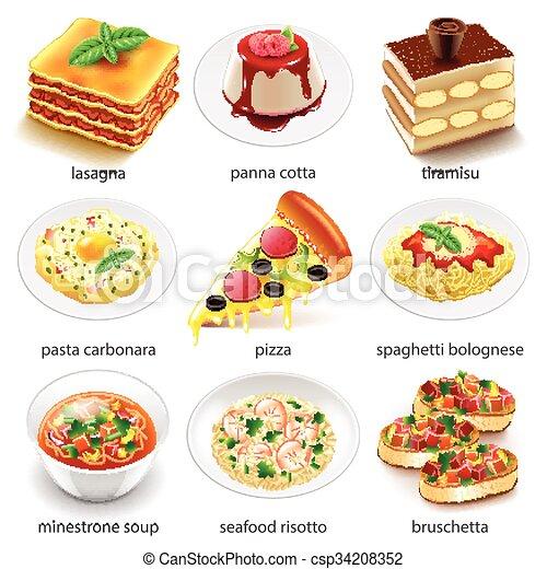 italian food icons vector set italian food icons detailed rh canstockphoto com Italian Food Clip Art and Backgrounds italian cuisine clipart