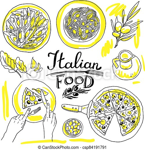 italian food- set of food hand-draw illustration - csp84191791