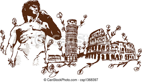 Italian Landmarks illustr - csp1368397