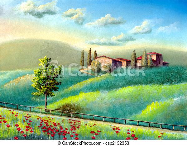 Italian landscape farmland in tuscany italy my original for Disegni di paesaggi colorati