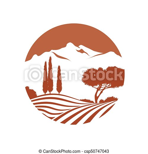 italian landscape with mountains vector icon - csp50747043