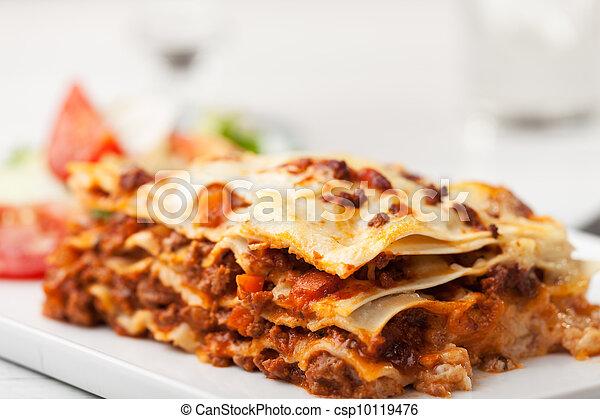 italian lasagna on a square plate  - csp10119476