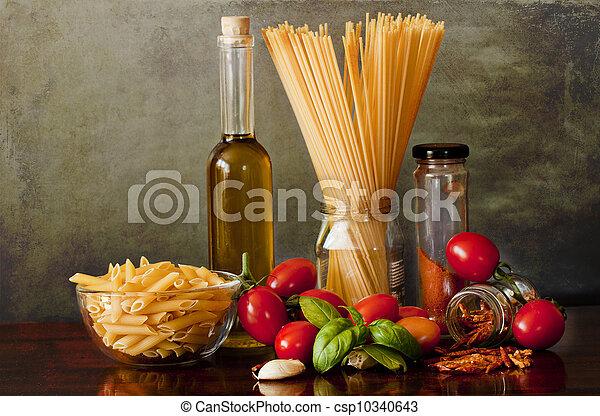 Italian noodles recipe, pasta all'arrabbiata - csp10340643