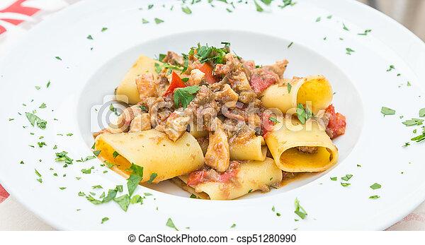 Italian Paccheri pasta  with Swordfish - csp51280990