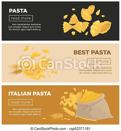 italian pasta web banners vector template for italy cuisine