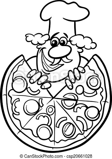 Italian pizza cartoon coloring page black and white for Italian coloring pages