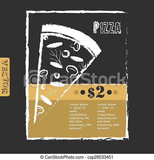 italian pizza poster on black chalkboard vector menu template