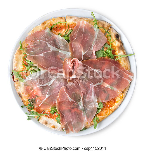 italian pizza with ham isolated on white - csp4152011