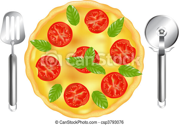 Italian Pizza With Pizza Spatula And Pizza Cutter - csp3793076