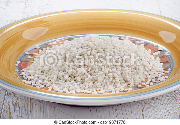 italian risotto rice on a plate - csp19071778