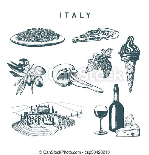 Italian Set Of Sketches Hand Drawn Illustrations Of Italy Vector