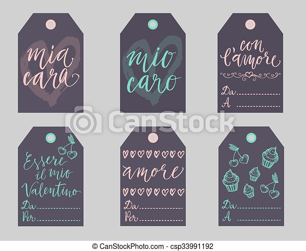 Italian Valentines gift tags set. - csp33991192