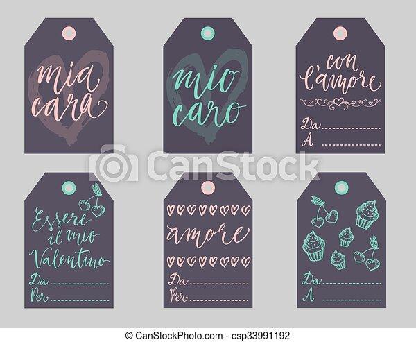 Italian Valentines gift tags set. - csp33991192