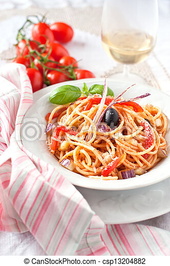 Italian vegetarian spaghetti - csp13204882