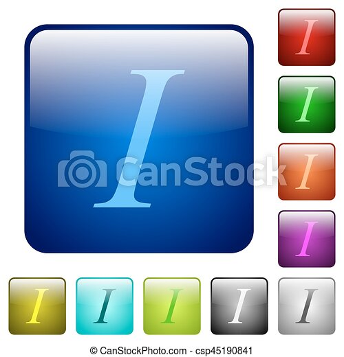 Italic font type color square buttons - csp45190841