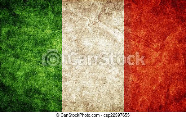 italie, flag., vendange, article, drapeaux, retro, collection, grunge, mon - csp22397655