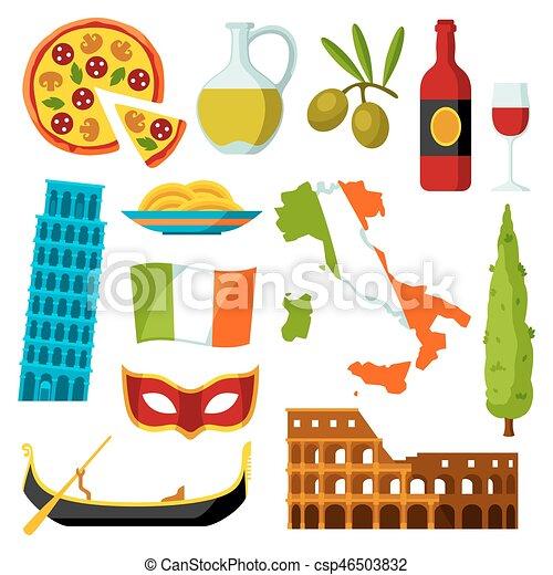 Connu Vecteurs de italie, icônes, set., symboles, objets, italien  MK31