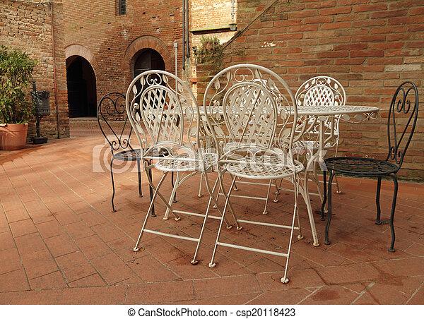 italie, jardin, certaldo, vendange, fer, toscan, patio, meubles