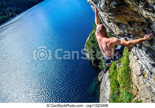 italie, nord, mur, lac, devero, au-dessus, escalade, grimpeur - csp11523498