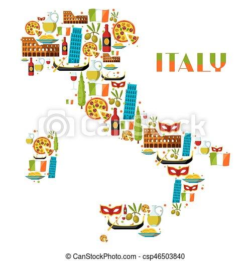 Souvent Vecteur EPS de italie, symboles, objets, fond, design., italien  WX53