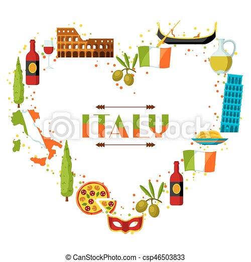 Souvent Vecteurs de italie, symboles, objets, fond, design., italien  WX53