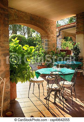 Italie Village Terrasse Cafe Ouvert Italien Beau Tables Vue