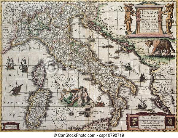Gammal Karta Italien.Italien Gammal Karta 1631 Gammal Hondius Skapat Map
